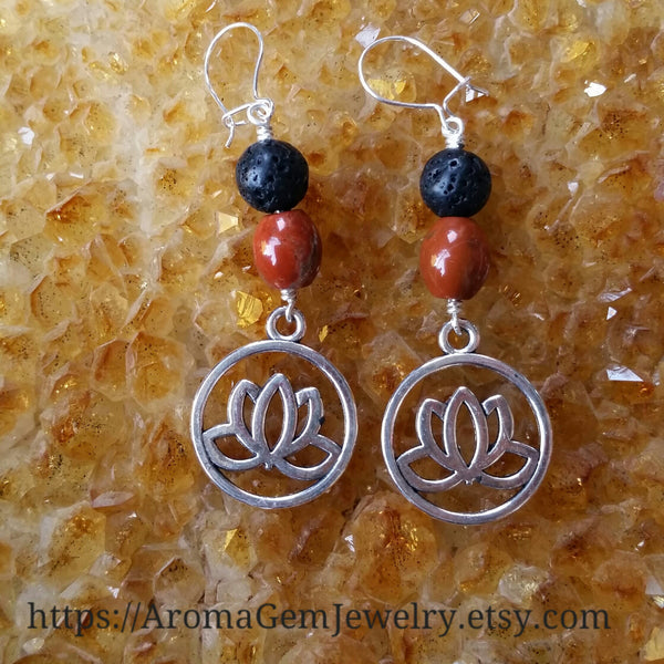 Essential oil diffuser earrings - red Jasper - red Agate - Lotus