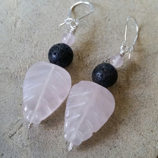 Essential oil diffuser earrings - pink Rose Quartz - leaf - Sterling Silver