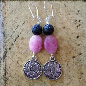 Essential oil diffuser earrings - pink quartz - lotus - Sterling Silver