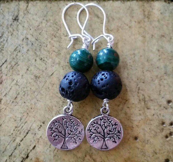 Essential oil diffuser earrings - Malachite - Tree of Life, Sterling Silver