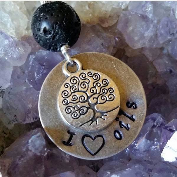 "Essential oil diffuser necklace - Hand stamped ""I (heart) oils""- Tree of life,"