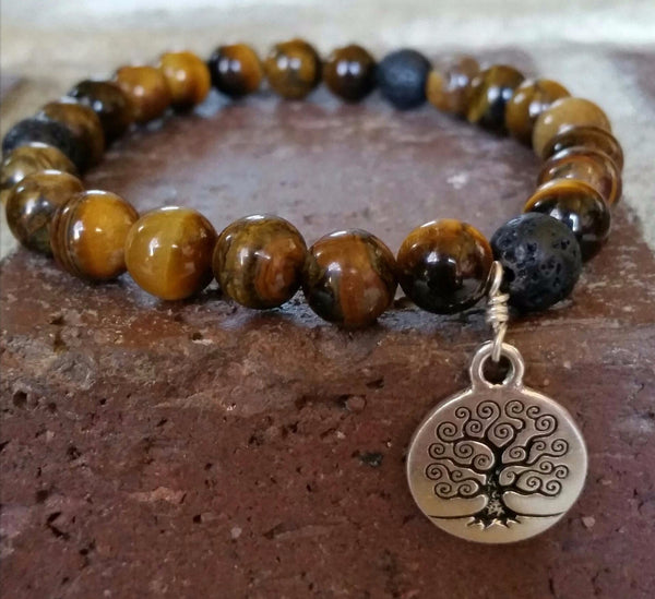 Essential oil diffuser bracelet-Tiger Eye - Tree of Life