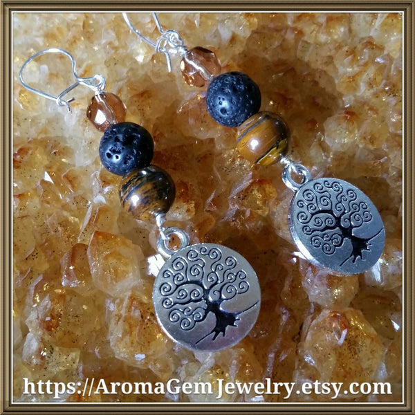 Essential oil diffuser earrings- Tiger Eye - Tree of Life