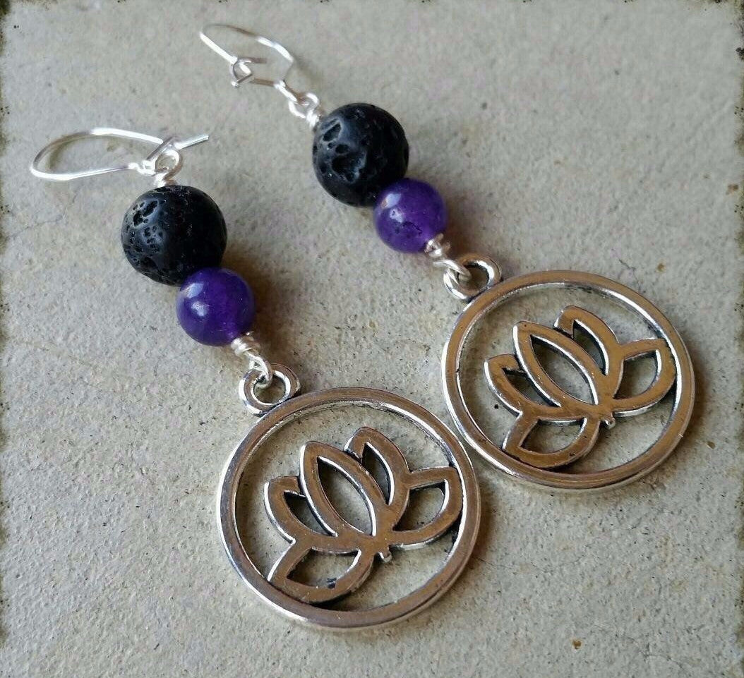 Essential oil diffuser earrings - dyed Quartz - lotus - Sterling Silver ear wire