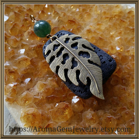 Essential oil diffuser necklace - Malaysia Jade - antiqued bronze - leaf