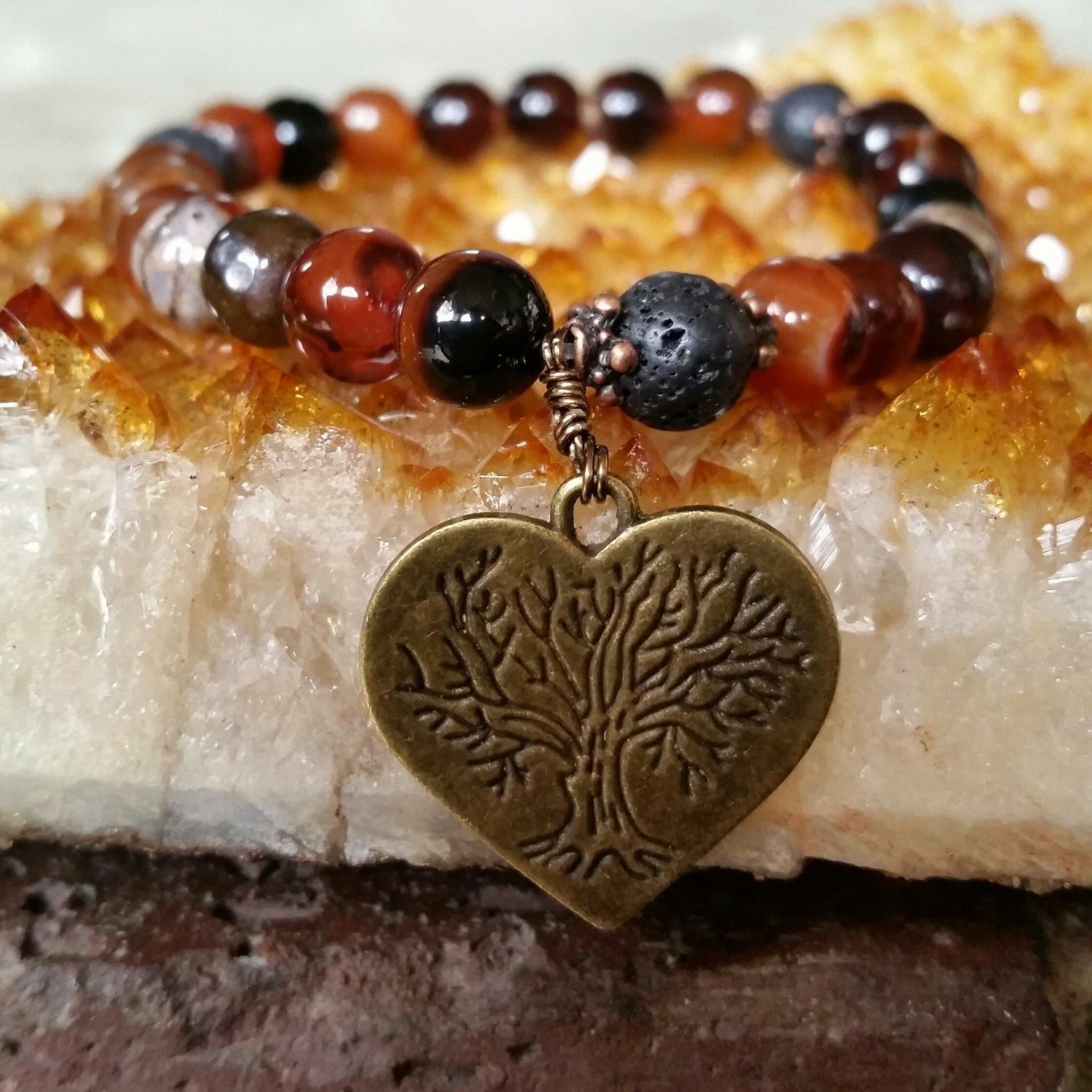 Essential oil diffuser bracelet - red and black Agate - Tree of Life