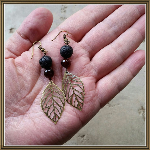 Essential oil diffuser earrings - red agate - antiqued bronze- leaf