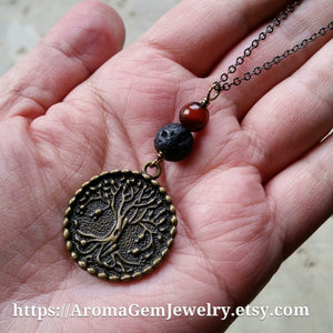 Essential oil diffuser neklace - agate-antiqued bronze-Tree of Life