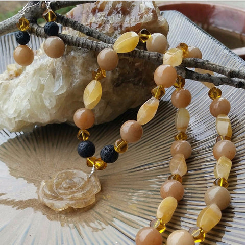 Essential oil diffuser necklace/earring set-calcite and glass