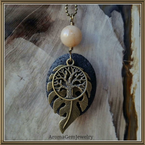 Essential oil diffuser necklace - yellow Calcite - leaf - tree of life