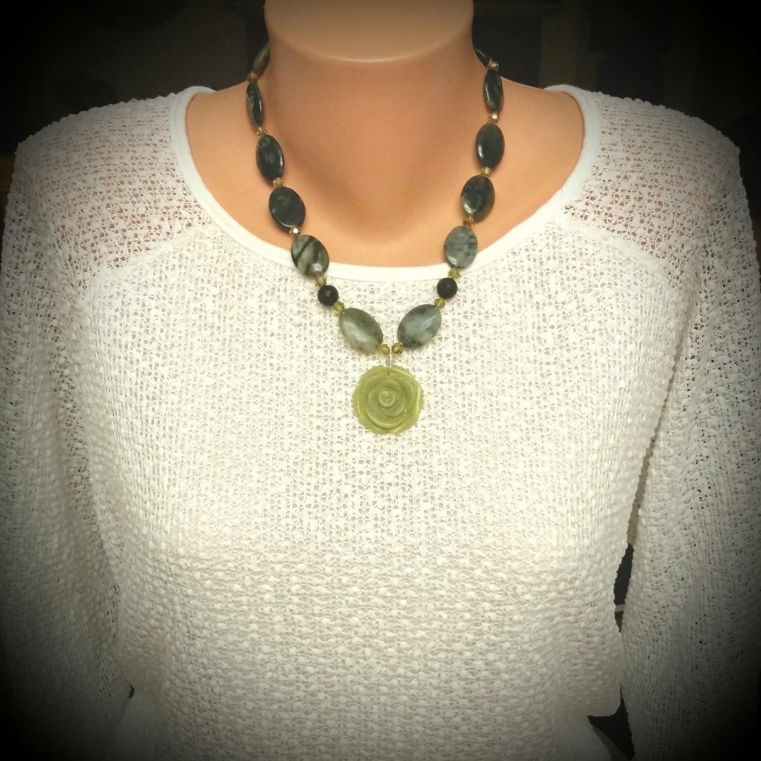 Essential oil diffuser necklace/earring set - New Jade, Sterling Silver