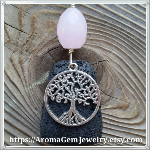Essential oil diffuser necklace - Rose Quartz - Tree of Life - wire wrapped - Sterling silver