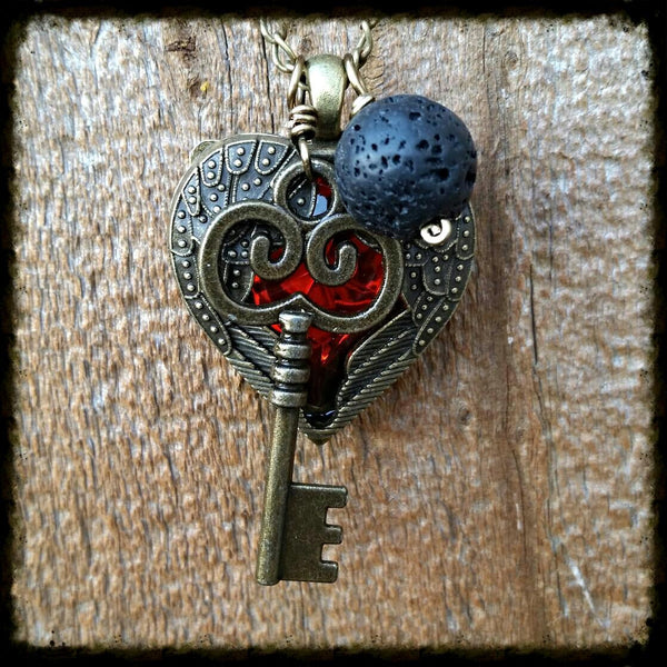 Essential oil diffuser necklace-cluster-skeleton key, heart