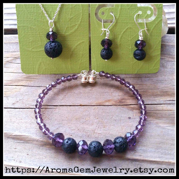 Essential oil diffuser necklace/bracelet/earring set-amethyst purple Crystal - magnetic clasp