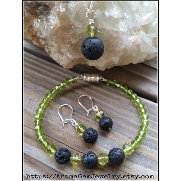 Essential oil diffuser necklace/bracelet/earring set - peridot green crystal - magnetic clasp