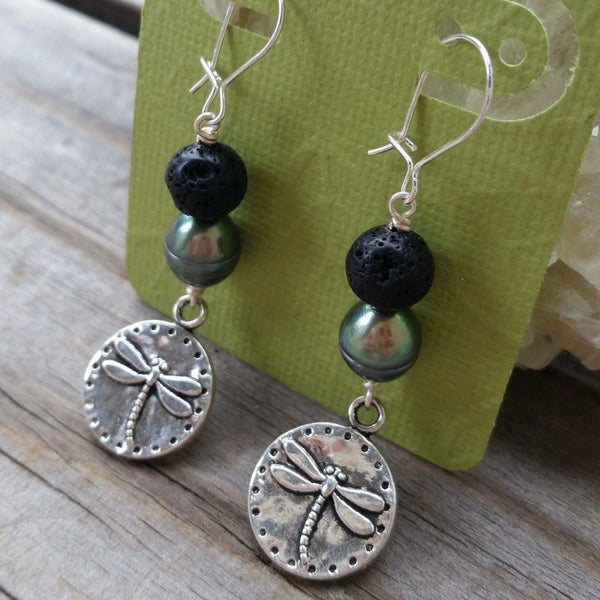 Essential oil diffuser earring - cultured pearl, dragonfly