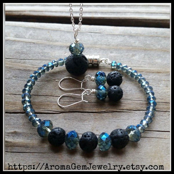 Essential oil diffuser necklace, bracelet/earring set - blue crystal - magnetic clasp
