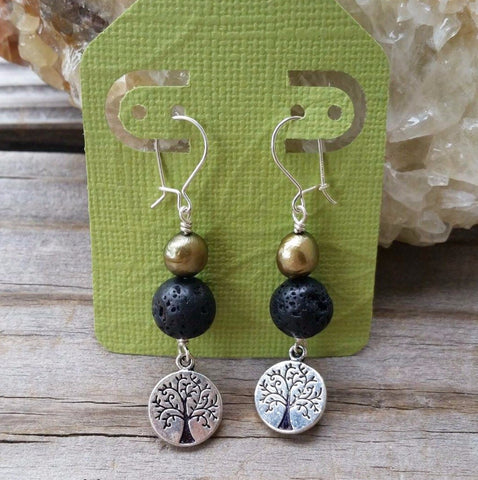 Essential oil diffuser earrings - green cultured pearl - Tree of Life