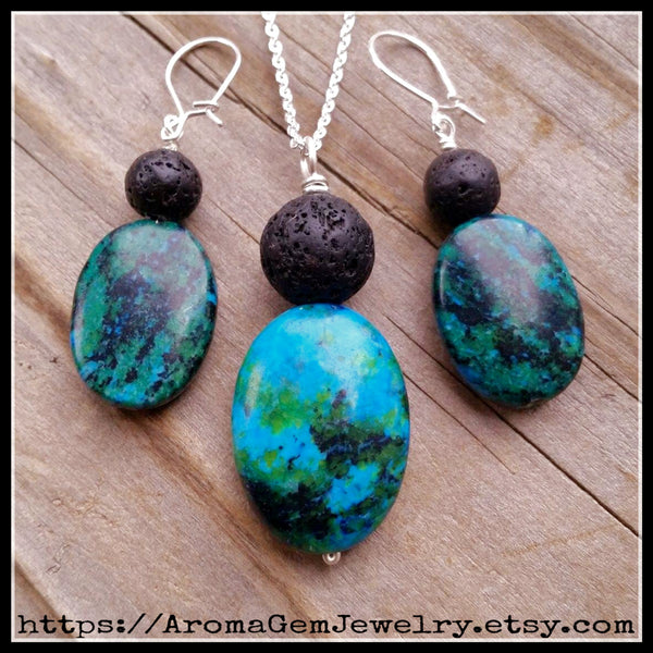 Essential oil diffuser necklace/earring set-Blue Chrysocolla Jasper