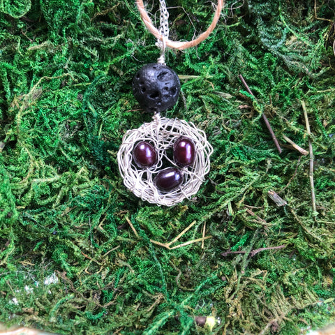 Aromatherapy Pea Pod Necklace-3 plum