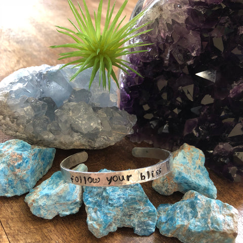 Hand stamped aluminum bracelet - Follow your bliss