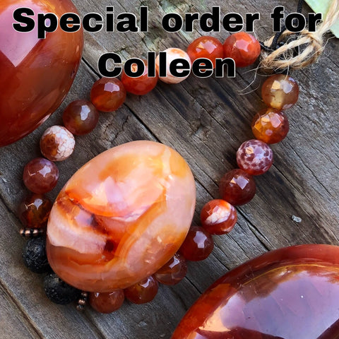 Special Order for Colleen -aromatherapy bracelet & heart set- Carnelian