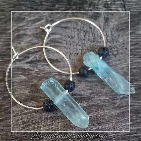 Essential oil diffuser earrings - blue quartz crystal (dyed)