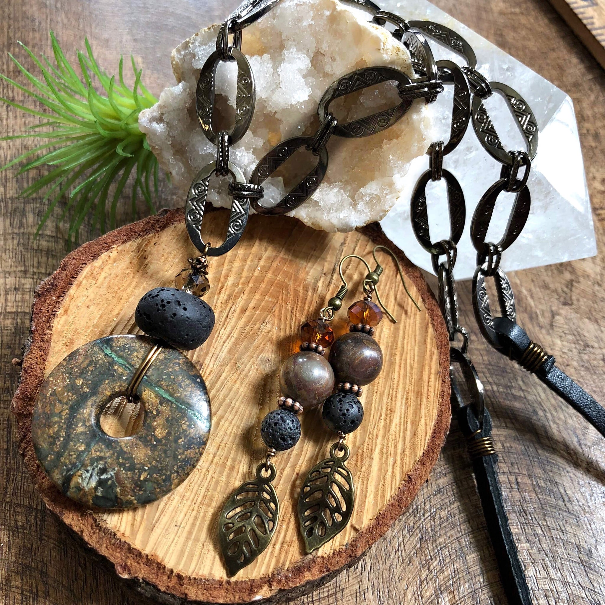 Essential oil diffuser necklace/earring set - Jasper