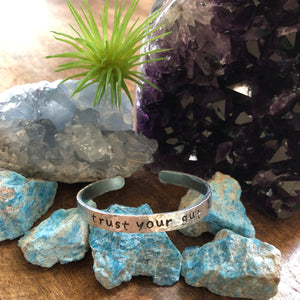 Hand stamped aluminum bracelet - Trust your gut