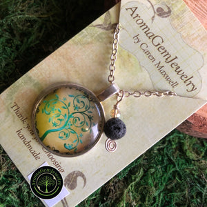 Essential oil diffuser necklace- Tree of Life -silver finish