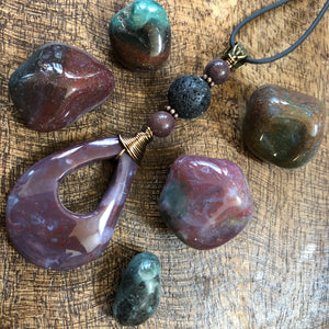 Essential oil diffuser necklace - Fancy Jasper