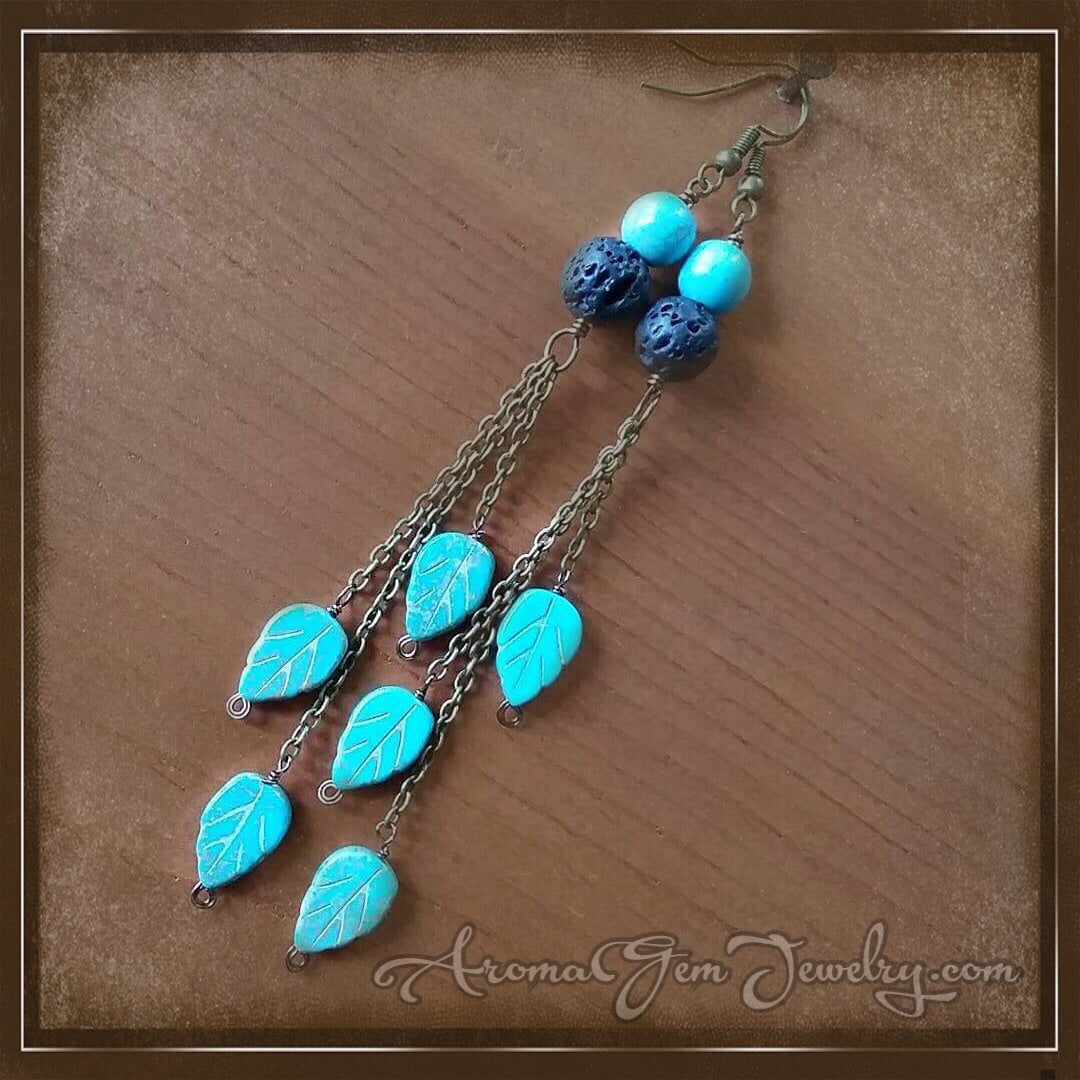 Essential oil diffuser earrings- magnesite leaf/chain