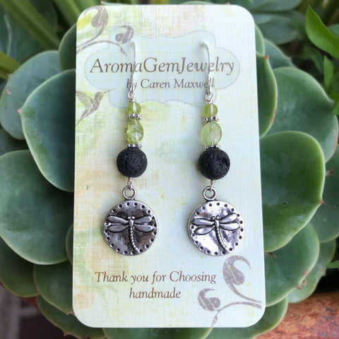 Essential oil diffuser earrings-Sterling Silver- peridot- dragonfly
