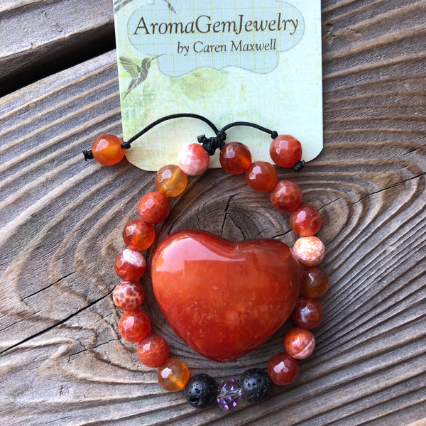 Essential oil diffuser bracelet & heart set- Carnelian