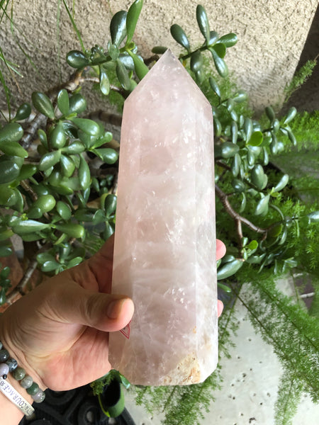 Huge 3 pound Rose Quartz Obelisk / Tower