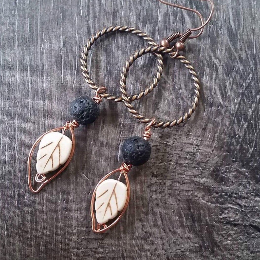 Essential oil diffuser earrings - fall leaves - white magnesite & copper