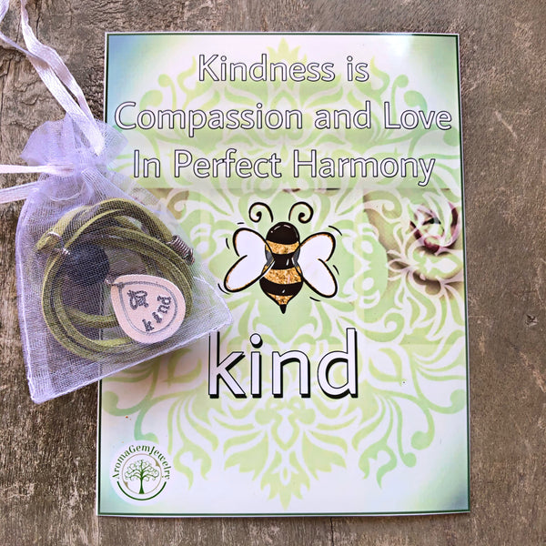 Kindness-Handstamped Aromatherapy necklace