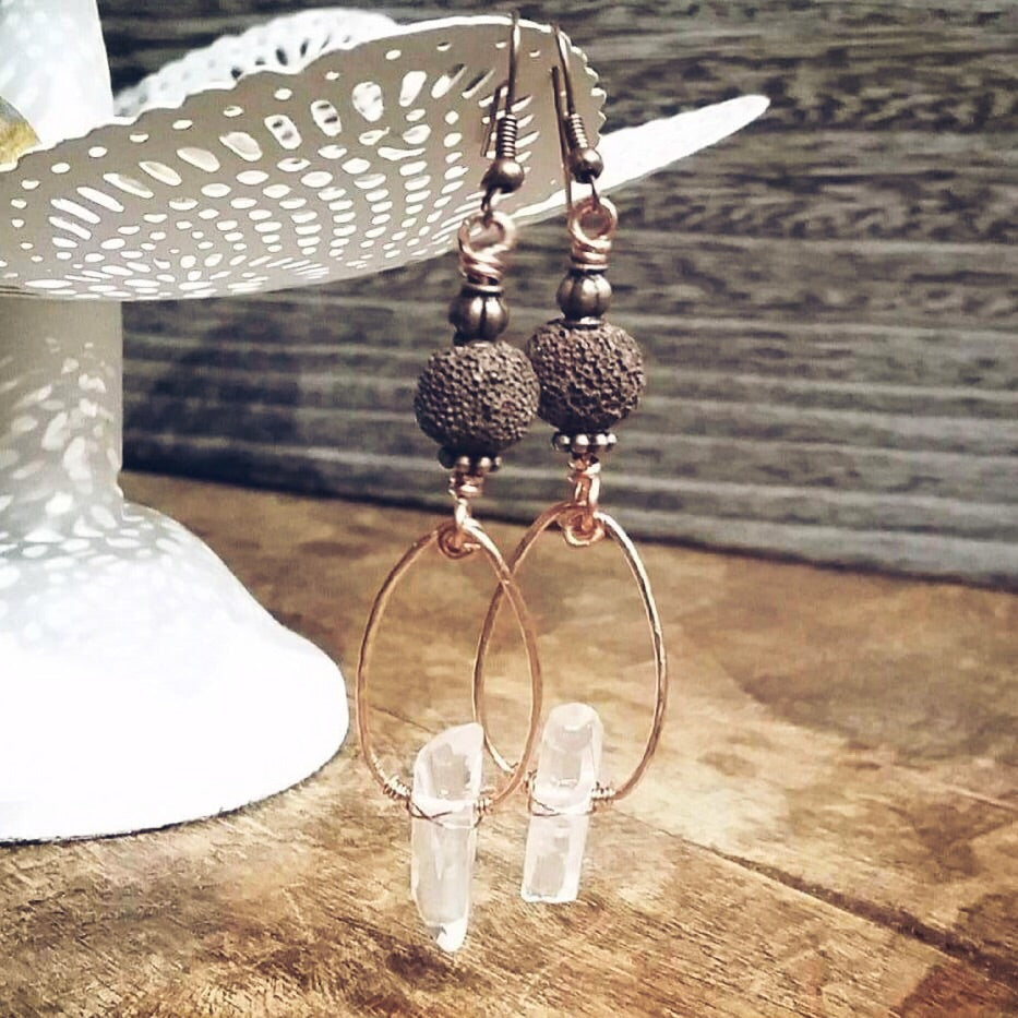Essential oil diffuser earrings - quartz crystal, copper