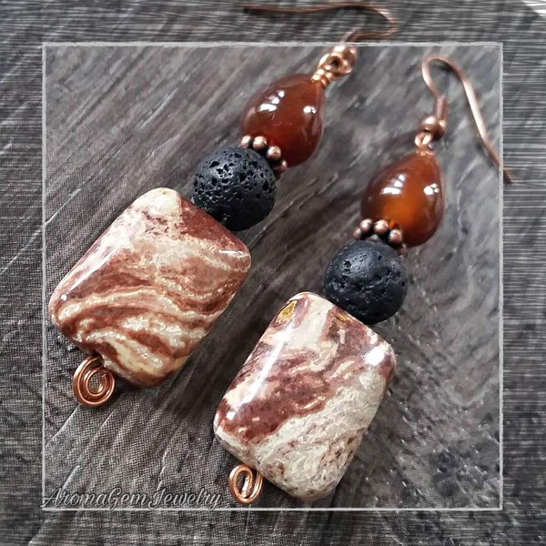 Essential oil diffuser earrings - Fall agate & jasper