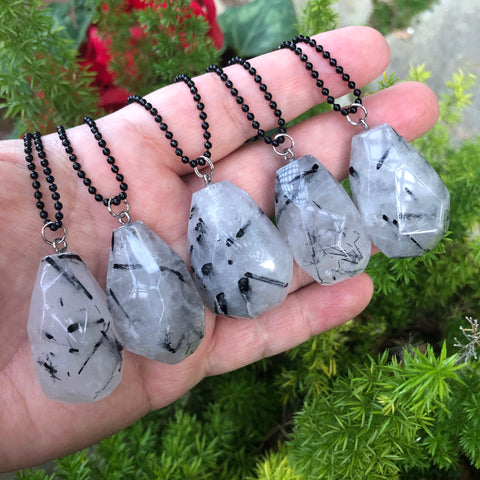 Tourmalinated quartz Necklace (Protection, Grounding)