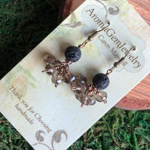 Essential oil diffuser earrings - crystal