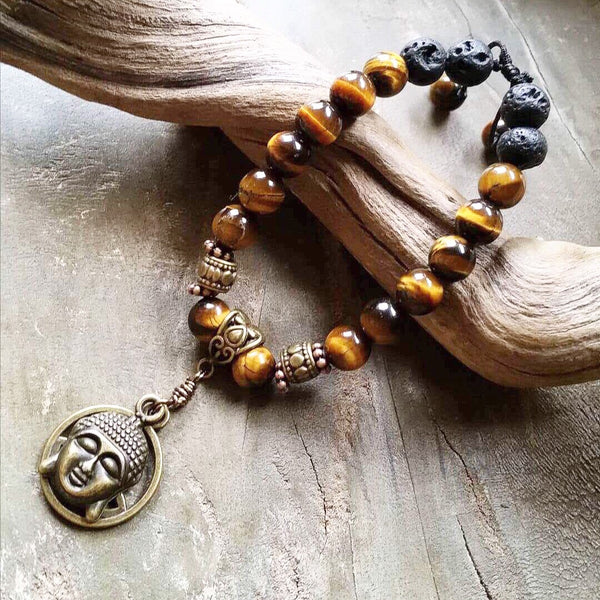 Essential oil diffuser bracelet - Tiger eye -Buddha - Lotus