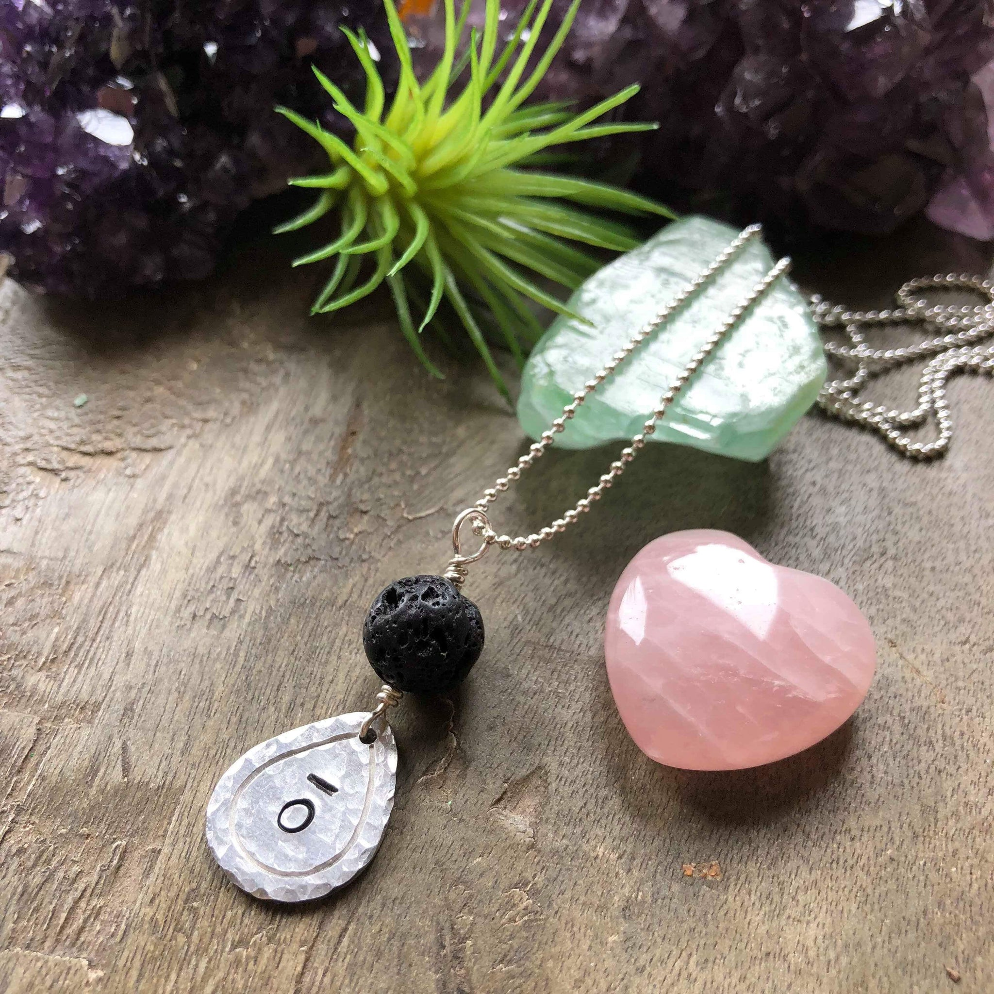 Hand stamped essential oil diffuser necklace - drop charm