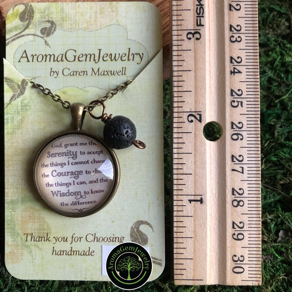 Essential oil diffuser necklace - Serenity prayer