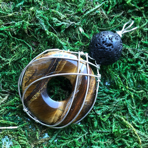 Essential oil diffuser necklace -  Wire Wrapped Tiger Eye Donut