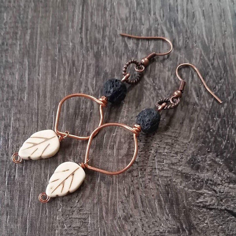 Essential oil diffuser earrings- copper fall