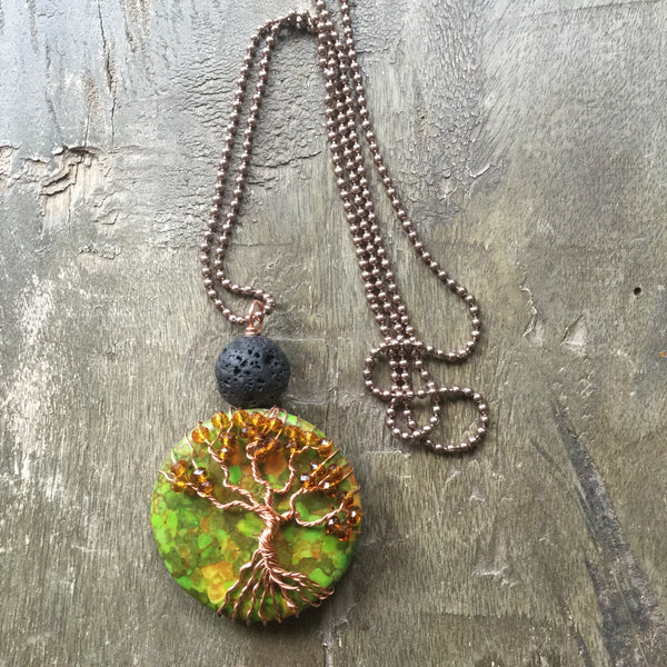 Essential oil diffuser necklace - Green magnesite Tree of Life