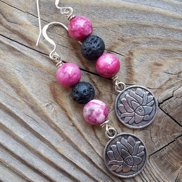 essential oil diffuser earrings -Lotus - rain drop jasper