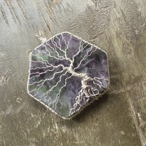 Essential oil diffuser necklace - Flourite Pendant