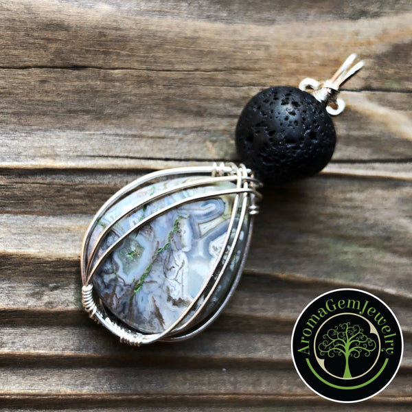 Essential oil diffuser necklace- Crazy Lace Agate